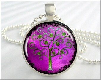 Tree Of Life Necklace, Resin Charm, Tree Art Jewelry, Purple Accessory, Round Silver, Gift Under 20, Purple Pendant 354RS