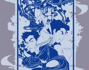 Korra, Bolin, Mako and Asami (team avatar) T-shirt from the Last Airbender, the Legend of Korra Series