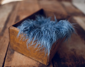 Slate Blue Fur Blanket/rug  great newborn prop.