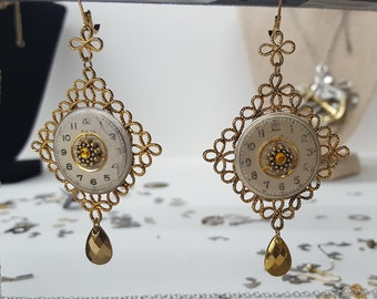 Victorian Inspired Vintage Watch Face and Gold Filigree Gear Charm Dangle Earrings