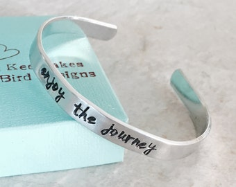 Sale!  Enjoy the journey personalized cuff bracelet graduation gift class of high school college new adventure good luck gift present