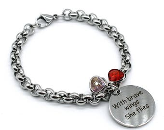 Stainless Steel Link Bracelet, Inspiration Jewelry, With Brave Wings She Flies, LB50