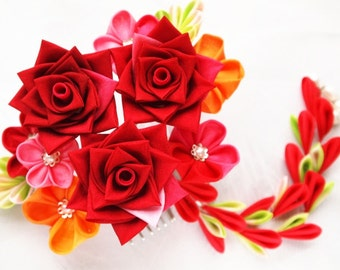 Clearance US Free Shipping Only Hand Dyed Silk Red Rose Kanzashi Flower Hair Comb WAS 120