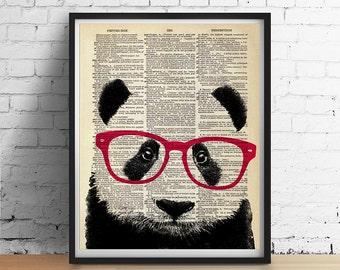 Smart PANDA Bear Wearing Glasses Art Print, Animal Illustration, Nursery Home Wall Decor, Black and White, Antique Book Page Dictionary Art