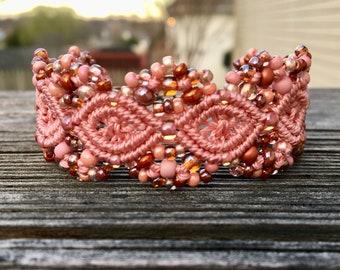 Micro-Macrame Cuff Bracelet. Modern Macrame. Beaded Cuff. Rose Pink Bracelet. Pink Macrame Cuff. Statement Jewelry. Boutique Fashion Piece.