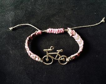 Bicycle Macrame Hemp Bracelet, Adjustable
