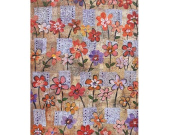 """Flowers in Boxes with Dots. 5"""" x 7"""" Blank Greeting Cards (Set of 6). Print of Original Collage Wall Art. Stationery. Print-to-Order."""