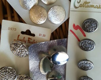 Collection Vintage Silver Metal Buttons Cards Craft Supplies Knitting Sewing