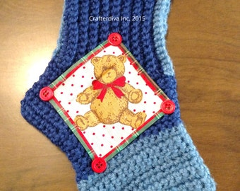 Christmas Stocking, Crocheted Stocking, Christmas Decoration, Holiday decoration, Handmade Stocking, Ready to Ship