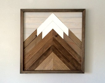 Reclaimed Wooden Wall Art Mountain Scene,GalleryWall, Modern Art Decor, Home Office, Cabin, Decoration for Boys Room.