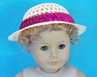 18 inch Doll Chic Straw Hat With Raspberry Sequin Trim