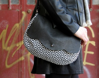 Geometric crossbody bag / small cross body bag / wool and leather bag / wool crossbody bag / geometric print bag / black and white small bag