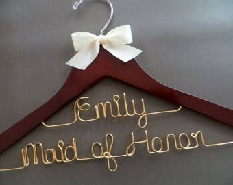 GOLD Bridesmaid Hanger, Maid of Honor Hanger, Personalized Hanger, Two Line Wedding Hanger, Bridesmaid Gift Idea, Bridal Party Gift