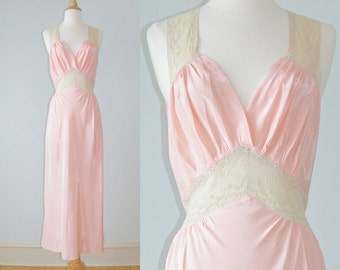 Vintage 1940s Nightgown, 40s Lingerie, Pink Bias Cut Nightgown, Radelle Bust 36 +