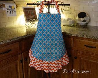 Ladies Full Apron, Orange and Blue Apron, Woman's full Apron / Retro Style / Full Designer Kitchen Apron / Vintage Apron