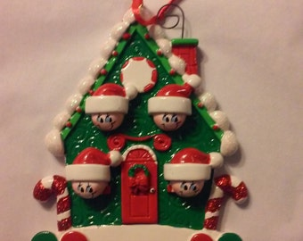 Green house with 4 personalized Ornament