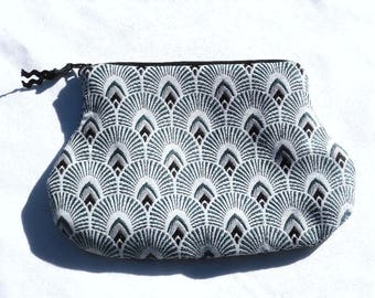 Pouch / bag / fabric / art deco / graphic print / peacock blue.