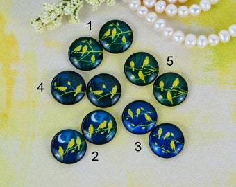 12mm,16mm,20mm cabs Mix Gold Green birds branch silhouette Handmade photo glass cabochon 12B063