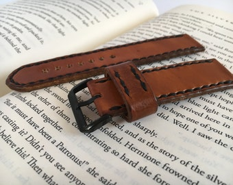 Brown leather watch strap hand stitched with black thread Black PVD buckle watch strap 18 mm 20 mm watch strap 22 mm 24 mm Mens watch band