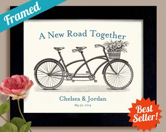 Wedding Gift Unique Engagement Personalized Gift Art Print for Couples Bicycle for Two Tandem Bike Wedding Keepsake Framed Art Print