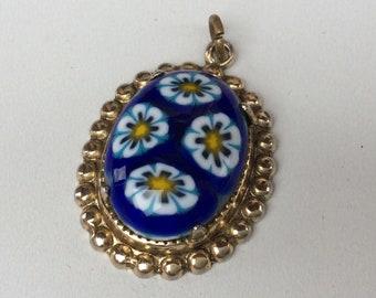 Pretty Millifiori  Blue Glass Costume Pendant