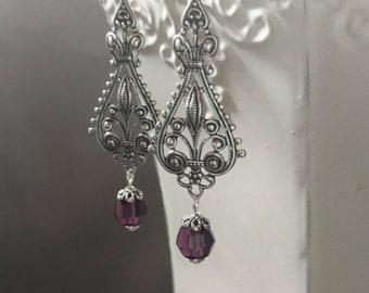 Art Deco Earrings - Art Deco Jewelry - 1920s Earrings - Miss Fisher Jewelry - Silver Earrings - Gift for Her - Womens Jewelry