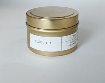 Black Tea 4 oz Gold Tin Candle