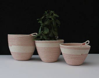 Trio of rope bowls - brick dust orange // rope bowls / rope basket / rope vessel /