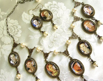 The Tudors - Henry and  His Wives - Bloody Mary and Elizabeth - SCA necklace - Faire Necklace - Elizabethan - Renaissance Necklace