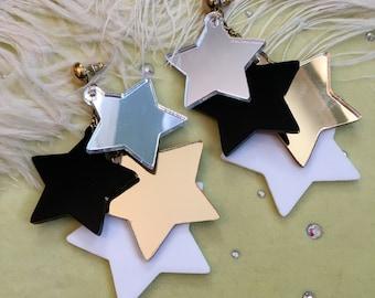Precious Metal Dangling Stars Earrings, Laser Cut Acrylic, Plastic Jewelry