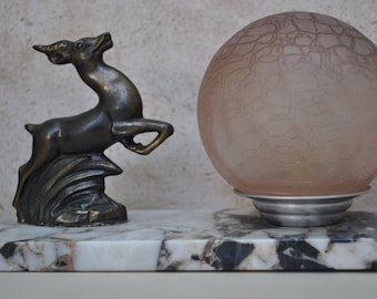 Art Deco Style French Table Lamp -   Deer on Marble Base