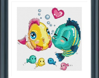 Counted Cross Stitch Pattern, Kissing Fishes, Cross Stitch Design, Modern Cross Stitch Pattern, Chinese Cross Stitch, Instant Download PDF