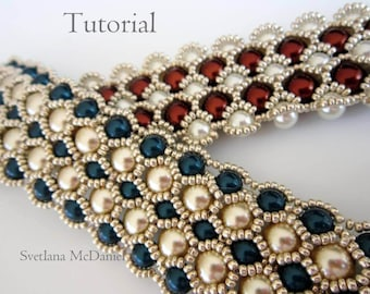PDF tutorial beaded bracelet 8mm 6mm pearl- seed bead