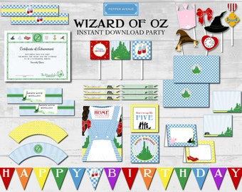 Wizard of Oz Instant Download Party- Dorothy, Ruby Slippers, Yellow Brick Road, Scarecrow, Wicked Witch, Lion, Tinman - Printable PDF Files