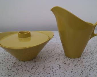 mellow yellow...1960s vintage melamine sugar bowl and creamer
