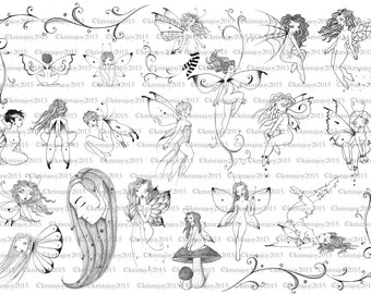Fairies and Flowers Hand Drawn Instant Digital Download Flash Sheet Collage