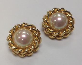 Vintage signed Chr. Dior Faux Pearl Cabochon Rope Twist Clip on Earrings