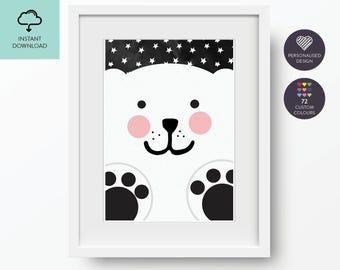 Bear, Polar Bear, Cute Bear, Nursery Art Printable, Wall art print, Printable art, Nursery printable, newborn gift, Printable — No.1.