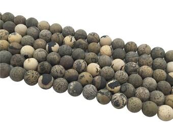 1Full Strand Matte Artistic Jasper Round  Beads  8mm 10mm Wholesale Gemstone For Jewelry Making