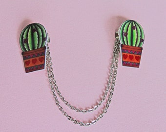 Bolero cardigan collar clips cactus tattoo flash art pinup rockabilly rockabella style 50s shrink plastic, girlfriend, mother, gift
