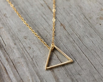 Gold Triangle Necklace, Simple Everyday Necklace, Minimalist Jewelry, Geometric Necklace, Dainty Triangle Necklace, Gift for Her