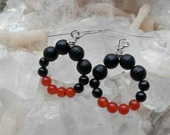 Onyx and Carnelian Drop Earrings
