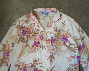 Vtg Retro Tropical Floral Silky Polyester Blouse Small Medium 70s 80s