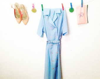 1960 Vintage Dress.60's Dress.Vintage Women's dress.Light Blue Pretty Vintage Dress For Women 1960s.Free Shipping.Size OS