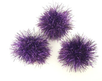 Sparkly Purple Balls, Cat Toys, Set of 3, Knitted Balls, Ball Cat Toys, Purple Cat Toys, Catnip Ball, Valerian Toys, Silvervine Toys