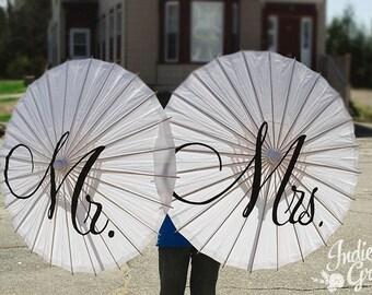 Wedding MR and MRS Parasol Umbrella Engagement Wedding Photo Decor Ceremony Decoration White Ivory Parasol