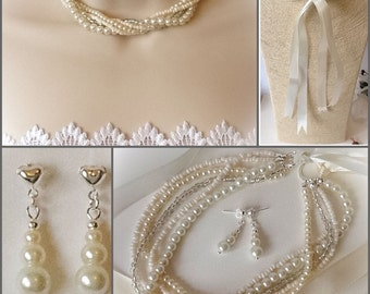 Bridal Ivory Pearl Adjustable Necklace with Ribbon Ties and Pearl Earrings