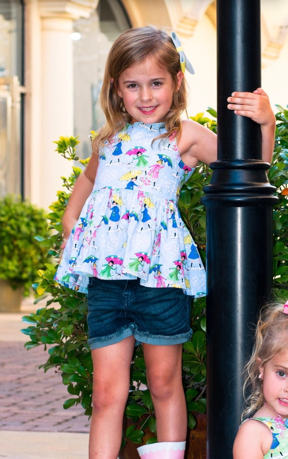 Girls Rainy Day Peplum Top - Umbrella Top - Blue Peplum - Pink Peplum - Vintage Style Print Peplum