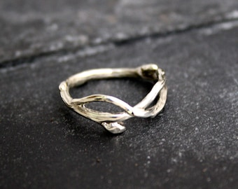 Sterling silver Infinity branch organic twig wedding bands engagement ring, twig ring, branch band, organic wedding, rustic wedding, natural