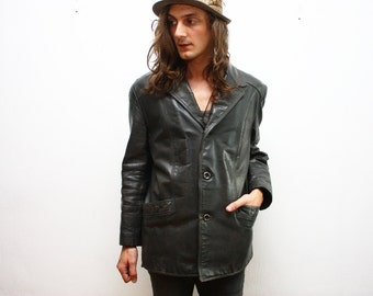 SALE___Vintage Jaeger 1960s Leather Blazer Jacket / Luxury Brand